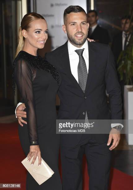 Jordi Alba and Romarey Ventura attend Lionel Messi and Antonela Rocccuzzo's wedding at the City Center Rosario Hotel Casino on June 30 2017 in...