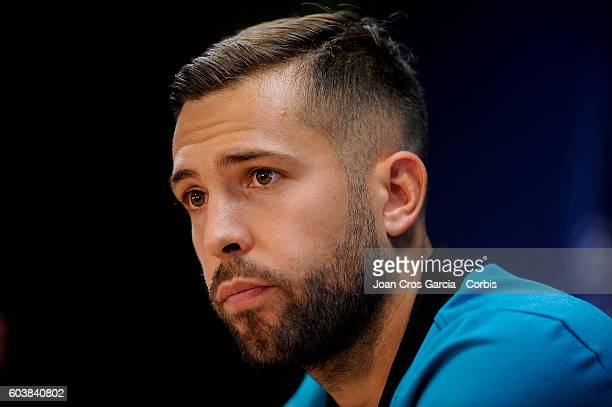 Jordi Alba attends a press conference at the Sports Center FC Barcelona Joan Gamper before the Champions League match between FCBarcelona and Celtic...