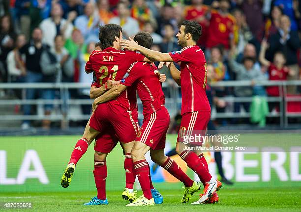 Jordi Alba celebrates after scoring a goal during the Spain v Slovakia EURO 2016 Qualifier at Carlos Tartiere on Sep 5 2015 in Oviedo Spain