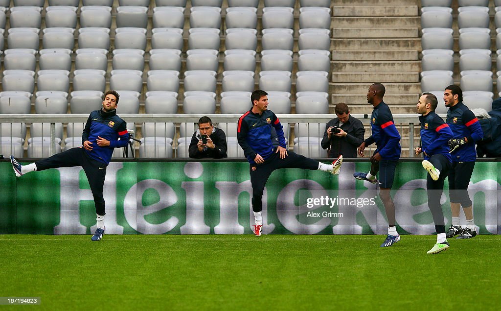 Jordi Alba, Lionel Messi, Eric Abidal, Andres Iniesta and Jose Manuel Pinto of FC Barcelona during a training session ahead of the UEFA Champions League semi-final first leg against FC Bayern Muenchen at Allianz Arena on April 22, 2013 in Munich, Germany.