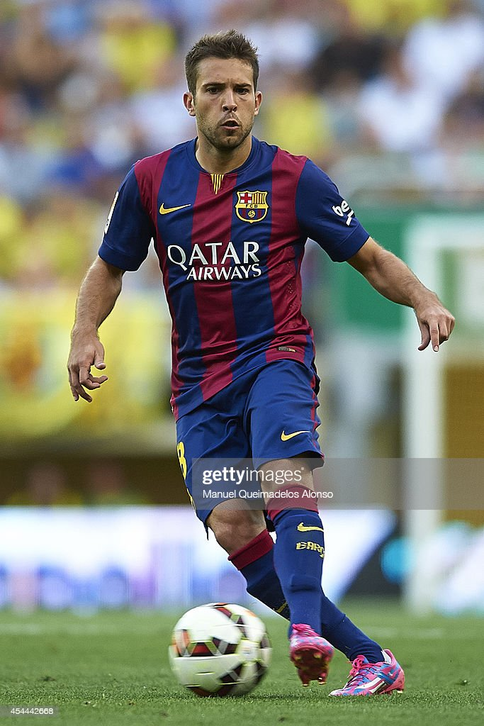 <a gi-track='captionPersonalityLinkClicked' href=/galleries/search?phrase=Jordi+Alba&family=editorial&specificpeople=5437949 ng-click='$event.stopPropagation()'>Jordi Alba</a> of Barcelona in action during the La Liga match between Villarreal CF and FC Barcelona at El Madrigal stadium on August 31, 2014 in Villarreal, Spain.