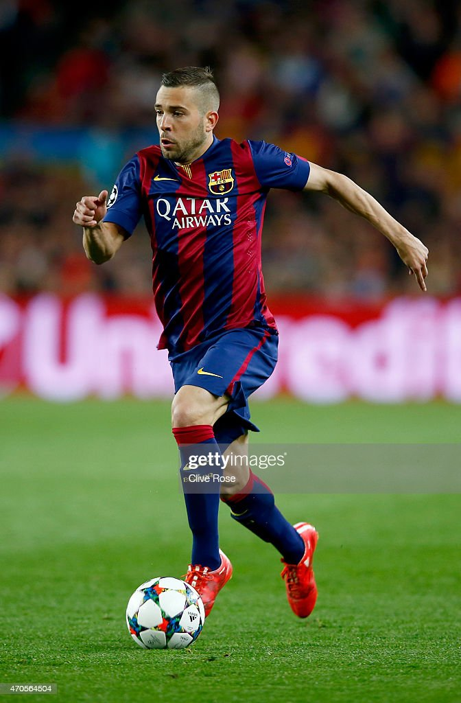 <a gi-track='captionPersonalityLinkClicked' href=/galleries/search?phrase=Jordi+Alba&family=editorial&specificpeople=5437949 ng-click='$event.stopPropagation()'>Jordi Alba</a> of Barcelona in action during the UEFA Champions League Quarter Final second leg match between FC Barcelona and Paris Saint-Germain at Camp Nou on April 21, 2015 in Barcelona, Spain.