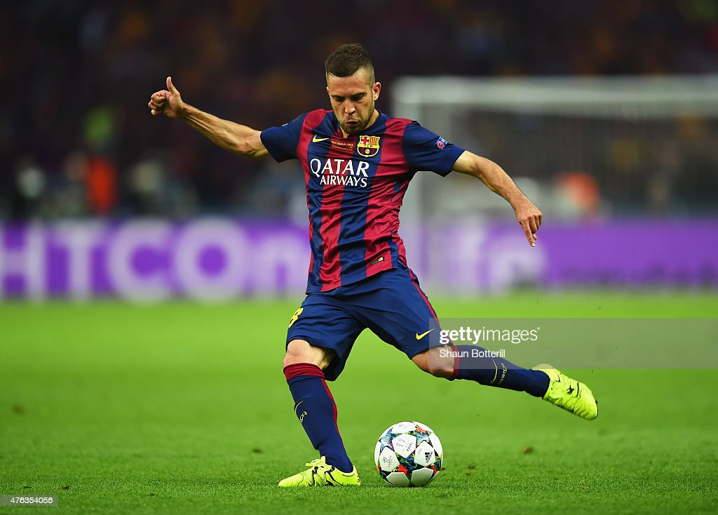 <a gi-track='captionPersonalityLinkClicked' href=/galleries/search?phrase=Jordi+Alba&family=editorial&specificpeople=5437949 ng-click='$event.stopPropagation()'>Jordi Alba</a> of Barcelona in action during the UEFA Champions League Final between Juventus and FC Barcelona at Olympiastadion on June 6, 2015 in Berlin, Germany.