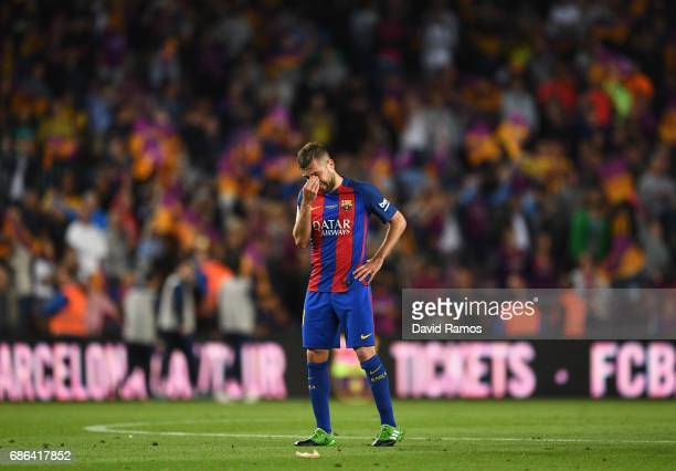 Jordi Alba of Barcelona looks dejected during the La Liga match between Barcelona and Eibar at Camp Nou on 21 May 2017 in Barcelona Spain