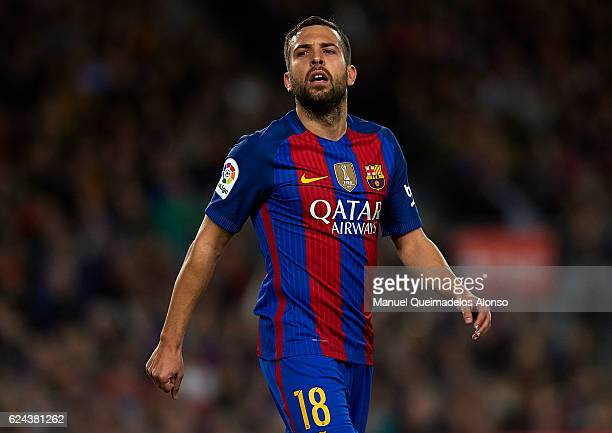 Jordi Alba of Barcelona looks on during the La Liga match between FC Barcelona and Malaga CF at Camp Nou stadium on November 19 2016 in Barcelona...