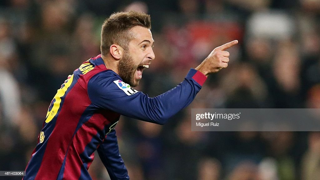<a gi-track='captionPersonalityLinkClicked' href=/galleries/search?phrase=Jordi+Alba&family=editorial&specificpeople=5437949 ng-click='$event.stopPropagation()'>Jordi Alba</a> of FC Barcelona celebrates scoring the fourth goal during the Copa del Rey match between FC Barcelona and Elche CF at Camp Nou on January 8, 2015 in Barcelona, Spain.
