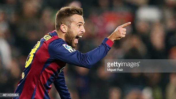 Jordi Alba of FC Barcelona celebrates scoring the fourth goal during the Copa del Rey match between FC Barcelona and Elche CF at Camp Nou on January...