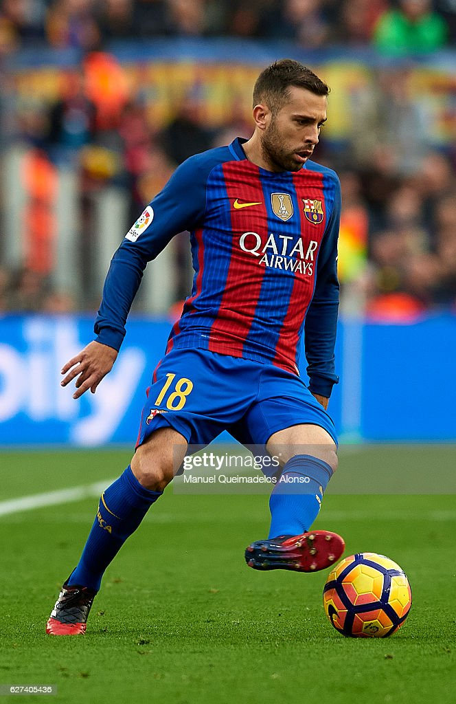 Jordi Alba of FC Barcelona controls the ball during the La Liga match between FC Barcelona and Real Madrid CF at Camp Nou stadium on December 03 2016...