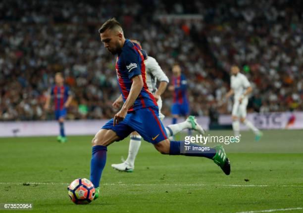 Jordi Alba of FC Barcelona controls the ball during the La Liga match between Real Madrid CF and FC Barcelona at the Santiago Bernabeu stadium on...