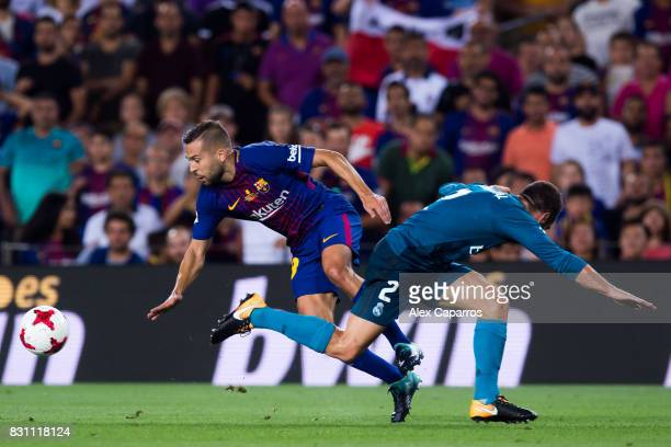 Jordi Alba of FC Barcelona fights for the ball with Daniel Carvajal of Real Madrid CF during the Supercopa de Espana Supercopa Final 1st Leg match...