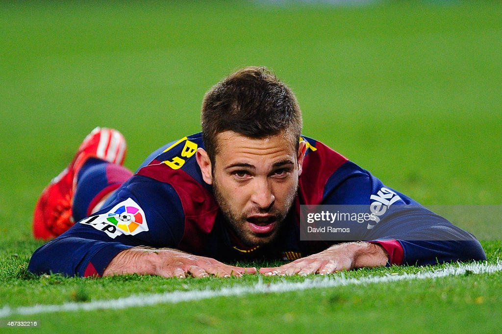 <a gi-track='captionPersonalityLinkClicked' href=/galleries/search?phrase=Jordi+Alba&family=editorial&specificpeople=5437949 ng-click='$event.stopPropagation()'>Jordi Alba</a> of FC Barcelona looks on during the La Liga match Between FC Barcelona and Real Madrid CF at Camp Nou on March 22, 2015 in Barcelona, Spain.