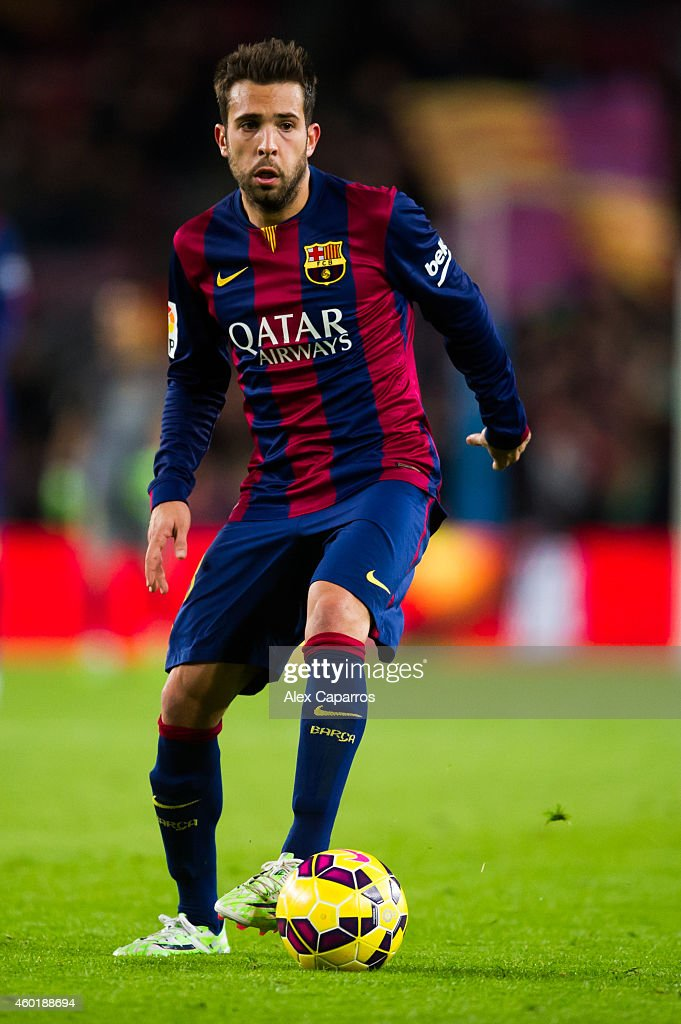 <a gi-track='captionPersonalityLinkClicked' href=/galleries/search?phrase=Jordi+Alba&family=editorial&specificpeople=5437949 ng-click='$event.stopPropagation()'>Jordi Alba</a> of FC Barcelona runs with the ball during the La Liga match between FC Barcelona and RCD Espanyol at Camp Nou on December 7, 2014 in Barcelona, Spain.