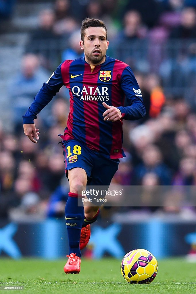 <a gi-track='captionPersonalityLinkClicked' href=/galleries/search?phrase=Jordi+Alba&family=editorial&specificpeople=5437949 ng-click='$event.stopPropagation()'>Jordi Alba</a> of FC Barcelona runs with the ball during the La Liga match between FC Barcelona and Malaga CF at Camp Nou on February 21, 2015 in Barcelona, Spain.