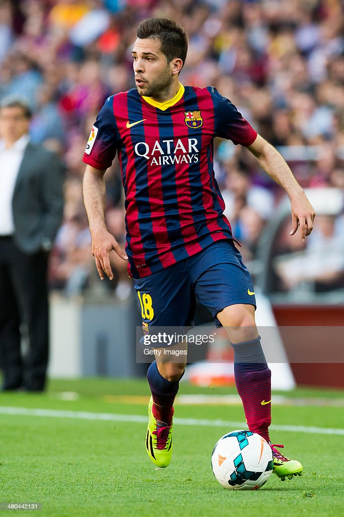 <a gi-track='captionPersonalityLinkClicked' href=/galleries/search?phrase=Jordi+Alba&family=editorial&specificpeople=5437949 ng-click='$event.stopPropagation()'>Jordi Alba</a> of FC Barcelona runs with the ball during the La Liga match between FC Barcelona and CA Osasuna at Camp Nou on March 16, 2014 in Barcelona, Spain.
