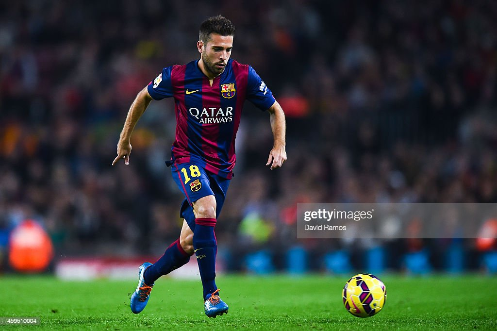 <a gi-track='captionPersonalityLinkClicked' href=/galleries/search?phrase=Jordi+Alba&family=editorial&specificpeople=5437949 ng-click='$event.stopPropagation()'>Jordi Alba</a> of FC Barcelona runs with the ball during the La Liga mach between FC Barcelona and Sevilla FC at Camp Nou on November 22, 2014 in Barcelona, Spain.