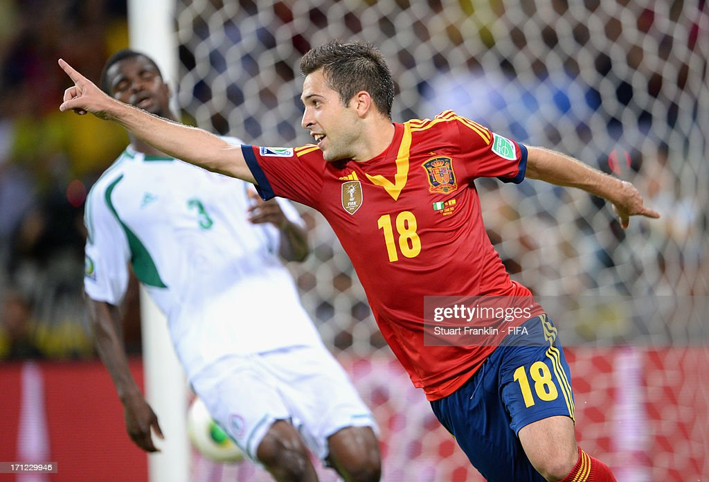 <a gi-track='captionPersonalityLinkClicked' href=/galleries/search?phrase=Jordi+Alba&family=editorial&specificpeople=5437949 ng-click='$event.stopPropagation()'>Jordi Alba</a> of Spain celebrates after scoring their third goal during the FIFA Confederations Cup Brazil 2013 Group B match between Nigeria and Spain at Castelao on June 23, 2013 in Fortaleza, Brazil.