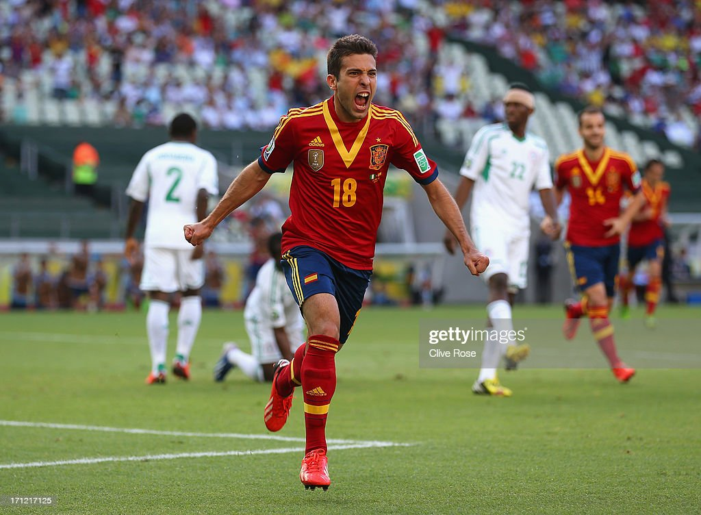 <a gi-track='captionPersonalityLinkClicked' href=/galleries/search?phrase=Jordi+Alba&family=editorial&specificpeople=5437949 ng-click='$event.stopPropagation()'>Jordi Alba</a> of Spain celebrates as he scores their first goal during the FIFA Confederations Cup Brazil 2013 Group B match between Nigeria and Spain at Castelao on June 23, 2013 in Fortaleza, Brazil.