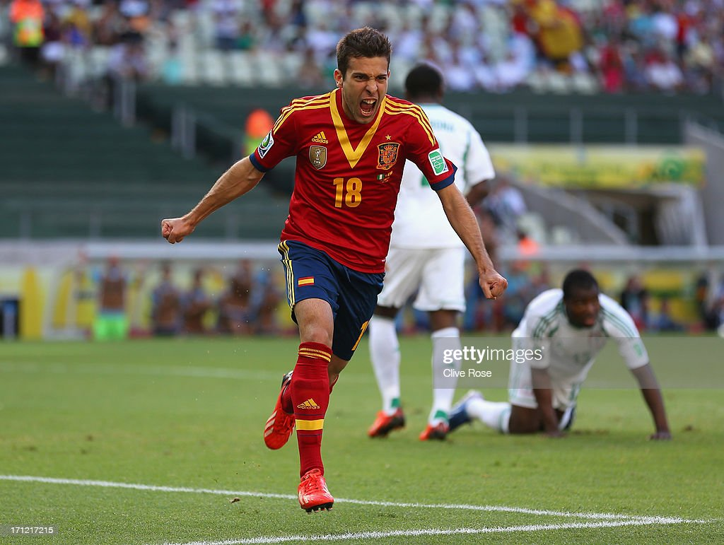 Jordi Alba of Spain celebrates as he scores their first goal during the FIFA Confederations Cup Brazil 2013 Group B match between Nigeria and Spain at Castelao on June 23, 2013 in Fortaleza, Brazil.