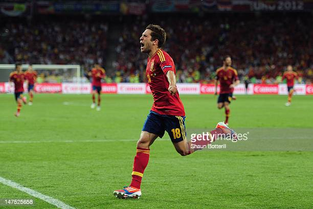 Jordi Alba of Spain celebrates scoring their second goal during the UEFA EURO 2012 final match between Spain and Italy at the Olympic Stadium on July...