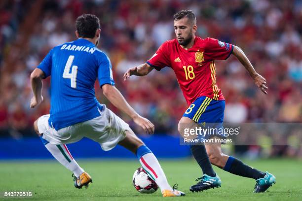 Jordi Alba of Spain fights for the ball with Matteo Darmian of Italy during the 2018 FIFA World Cup Russia Final Qualification Round 1 Group G match...
