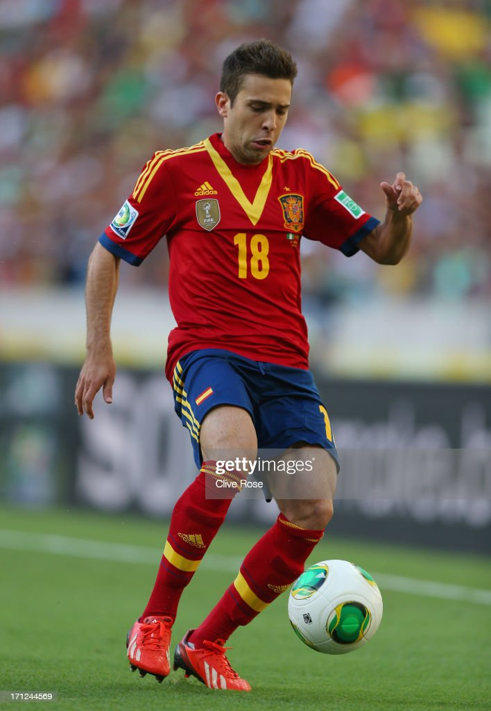 Jordi Alba of Spain in action during the FIFA Confederations Cup Brazil 2013 Group B match between Nigeria and Spain at Castelao on June 23, 2013 in Fortaleza, Brazil.