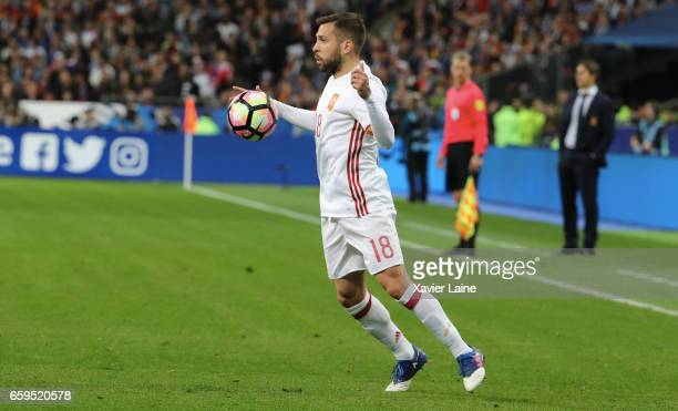 Jordi Alba of Spain in action during the Friendly game between France and Spain at Stade de France on march 28 2017 in Paris France