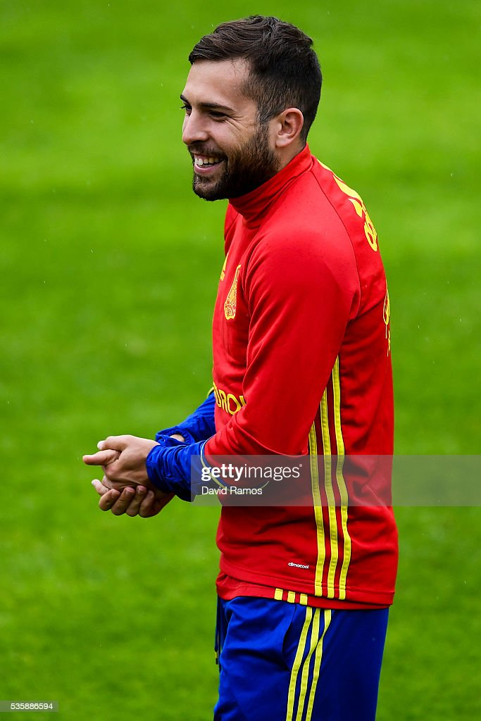 <a gi-track='captionPersonalityLinkClicked' href=/galleries/search?phrase=Jordi+Alba&family=editorial&specificpeople=5437949 ng-click='$event.stopPropagation()'>Jordi Alba</a> of Spain looks on during a training session on May 30, 2016 in Schruns, Austria.