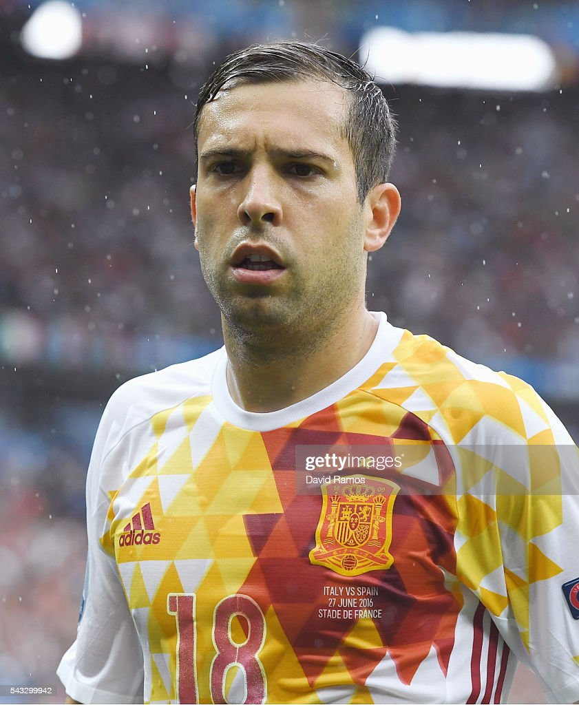 <a gi-track='captionPersonalityLinkClicked' href=/galleries/search?phrase=Jordi+Alba&family=editorial&specificpeople=5437949 ng-click='$event.stopPropagation()'>Jordi Alba</a> of Spain looks on during the UEFA EURO 2016 round of 16 match between Italy and Spain at Stade de France on June 27, 2016 in Paris, France.