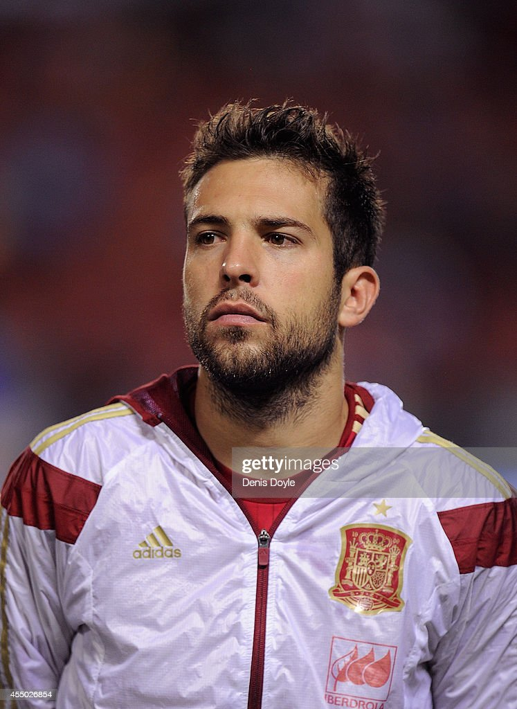 <a gi-track='captionPersonalityLinkClicked' href=/galleries/search?phrase=Jordi+Alba&family=editorial&specificpeople=5437949 ng-click='$event.stopPropagation()'>Jordi Alba</a> of Spain looks on prior to the start of the UEFA EURO 2016 Group C Qualifier between Spain and FYR of Macedonia at Estadio Ciutat de Valencia on September 8, 2014 in Valencia, Spain.