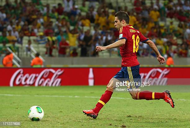 Jordi Alba of Spain scores their third goal during the FIFA Confederations Cup Brazil 2013 Group B match between Nigeria and Spain at Castelao on...