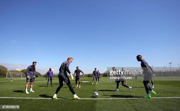 Jordi Amat assistant coach Claude Makelele Gerhard Tremmel Luciano Narsingh Ki Sung Yueng Martin Olsson and Jordan Ayew in actionn during the Swansea...