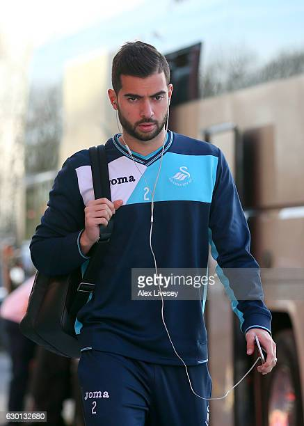 Jordi Amat of Swansea City arrives at the stadiium prior to the Premier League match between Middlesbrough and Swansea City at Riverside Stadium on...