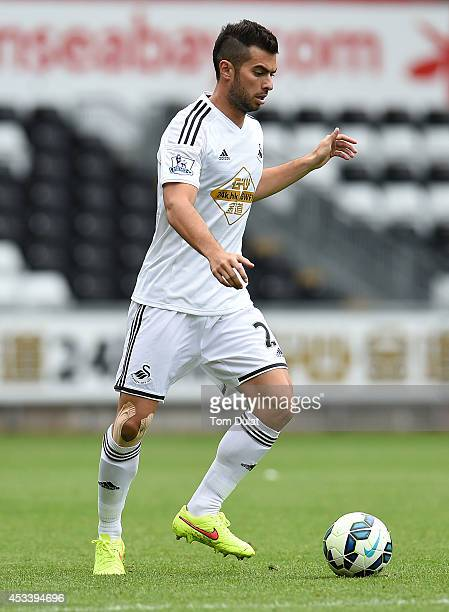 Jordi Amat of Swansea City in action during a pre season friendly match between Swansea City and Villarreal at Liberty Stadium on August 09 2014 in...