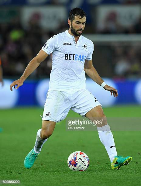 Jordi Amat of Swansea in action during the EFL Cup Third Round match between Swansea City and Manchester City at the Liberty Stadium on September 21...