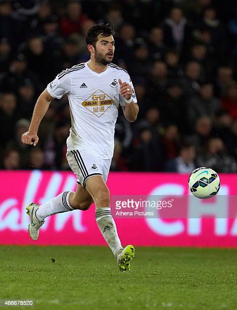 Jordi Amat of Swansea in action during the Premier League match between Swansea City and Liverpool at the Liberty Stadium on March 16 2015 in Swansea...