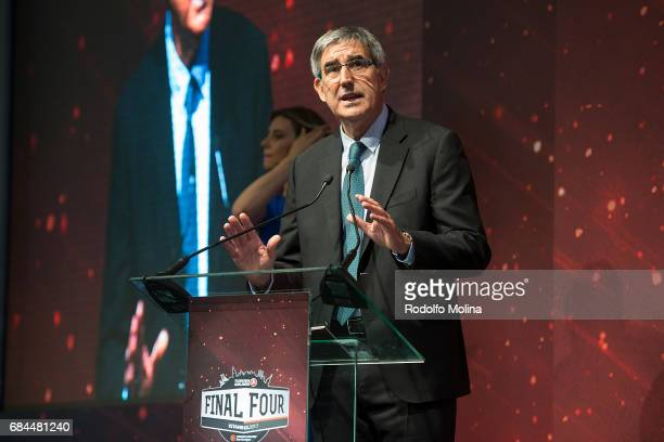 Jordi Bertomeu CEO and president of Euroleague Basketball talking during the Turkish Airlines EuroLeague Final Four Opening Press Conference at...