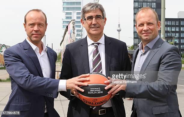 Jordi Bertomeu CEO Euroleague Basketball Marco Baldi Geschäftsführer Alba Berlin and Michael Hapka General Manager AEG Operations GmbH after the...