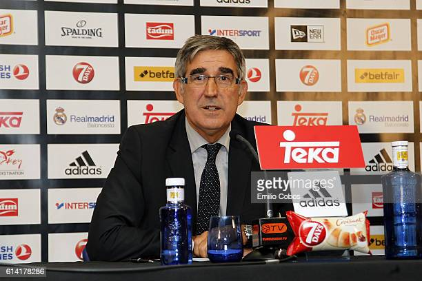 Jordi Bertomeu during the press conference before the game during the 2016/2017 Turkish Airlines EuroLeague Regular Season Round 1 game between Real...