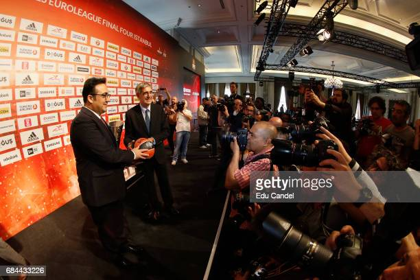 Jordi Bertomeu Euroleague Basketball President CEO and Ilker Ayci Turkish Airlines Chairman of the Board and the Executive Commitee during the...