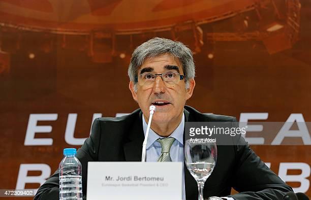 Jordi Bertomeu Euroleague Basketball President CEO during the Euroleague Basketball 15 Years Celebration Event Press Conference at Ulker Sports Arena...