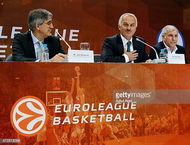 Jordi Bertomeu Euroleague Basketball President CEO Temel Kotil Turkish Airlines Deputy Chairman CEO Zeljko Obradovic Head Coach of Fenerbahce Ulker...
