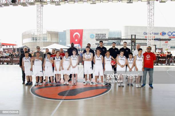 Jordi Bertomeu Euroleague Basketball President CEO the players of EuroLeague Final and players Special Olympic during the 2017 Turkish Airlines...