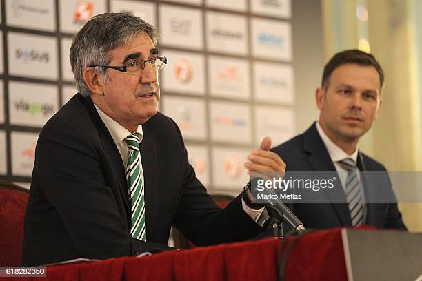 Jordi Bertomeu Euroleague president and Sinisa Mali mayor of Belgrade during the 2018 Turkish Airlines Euroleague Final Four Host Announcement Press...