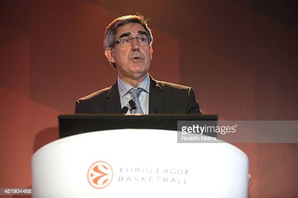 Jordi Bertomeu President and CEO of Euroleague Basketball gives a speech during the European Basketball Clubs Convention at Rey Juan Carlos Hotel on...