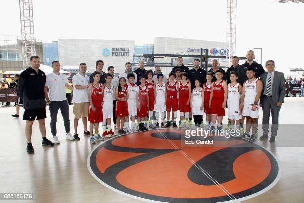 Jordi Bertomeu president Eurleague Basketball and CEO with the legends during the One Team Legends Session and Exhibition Game at Marmara Forum on...