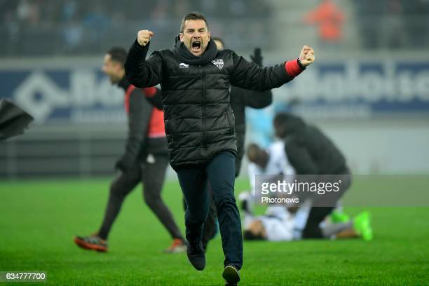 Jordi Condom Auli Head Coach of Eupen celebrates intense after Henry Onyekuru Chukwuemeka forward of Eupen scored in the added time during the...