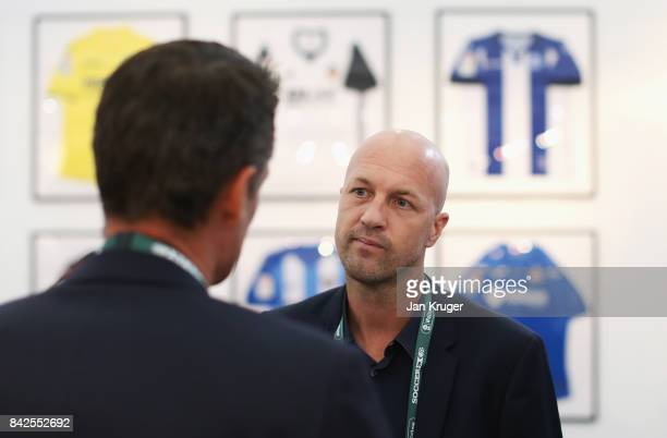 Jordi Cruyff Maccabi Tel Aviv FC Head Coach attends during day 1 of the Soccerex Global Convention at Manchester Central Convention Complex on...