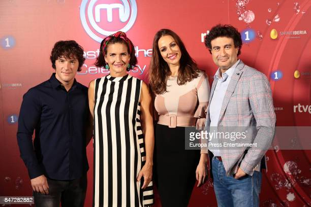 Jordi Cruz Samantha Vallejo Najera Eva Gonzalez and Pepe Rodriguez attend 'MasterChef Celebrity' 2 presentation on September 14 2017 in Madrid Spain