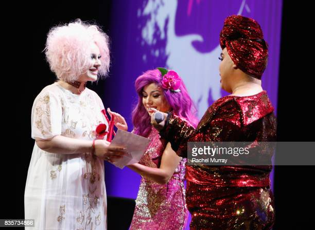 Jordi Dreher Charis Amber Lincoln and Patrick Starrr at the 2017 NYX Professional Makeup FACE Awards at The Shrine Auditorium on August 19 2017 in...