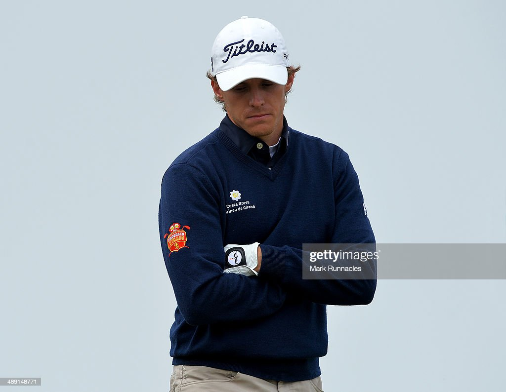 Jordi Garcia Pinto of Portugal reacts after missing a putt on the 16th green during the Madeira Islands Open - Portugal - BPI at Club de Golf do Santo da Serra on May 10, 2014 in Funchal, Madeira, Port gal.